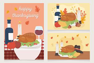 葡萄酒,火鸡,水果,幸福,蜡烛,晚餐,贺卡,蔬菜,清新,食品