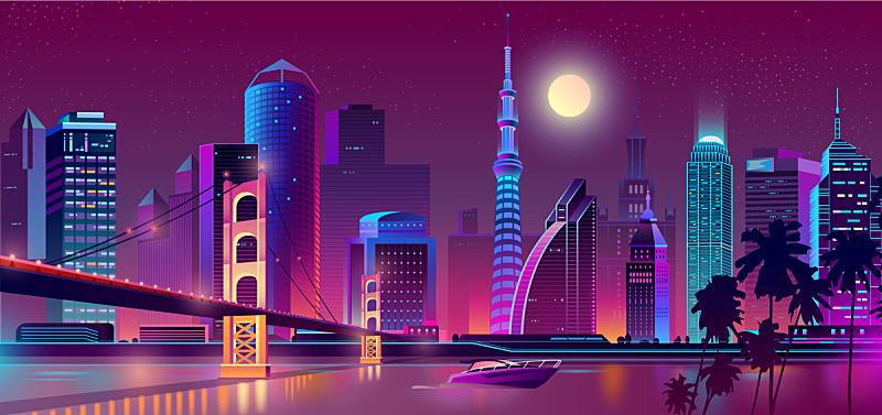 城市,夜晚,背景聚焦,霓虹灯,建筑,矢量,河流,建筑外部,概念,设计