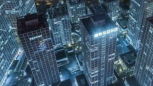 T/L MS HA Zi夜景照亮的摩天大楼/北京,中国