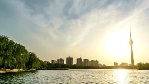 延时摄影-日落时的北京天际线