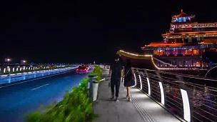 中国夜光珠海市著名歌剧院餐厅全景  timelapse
