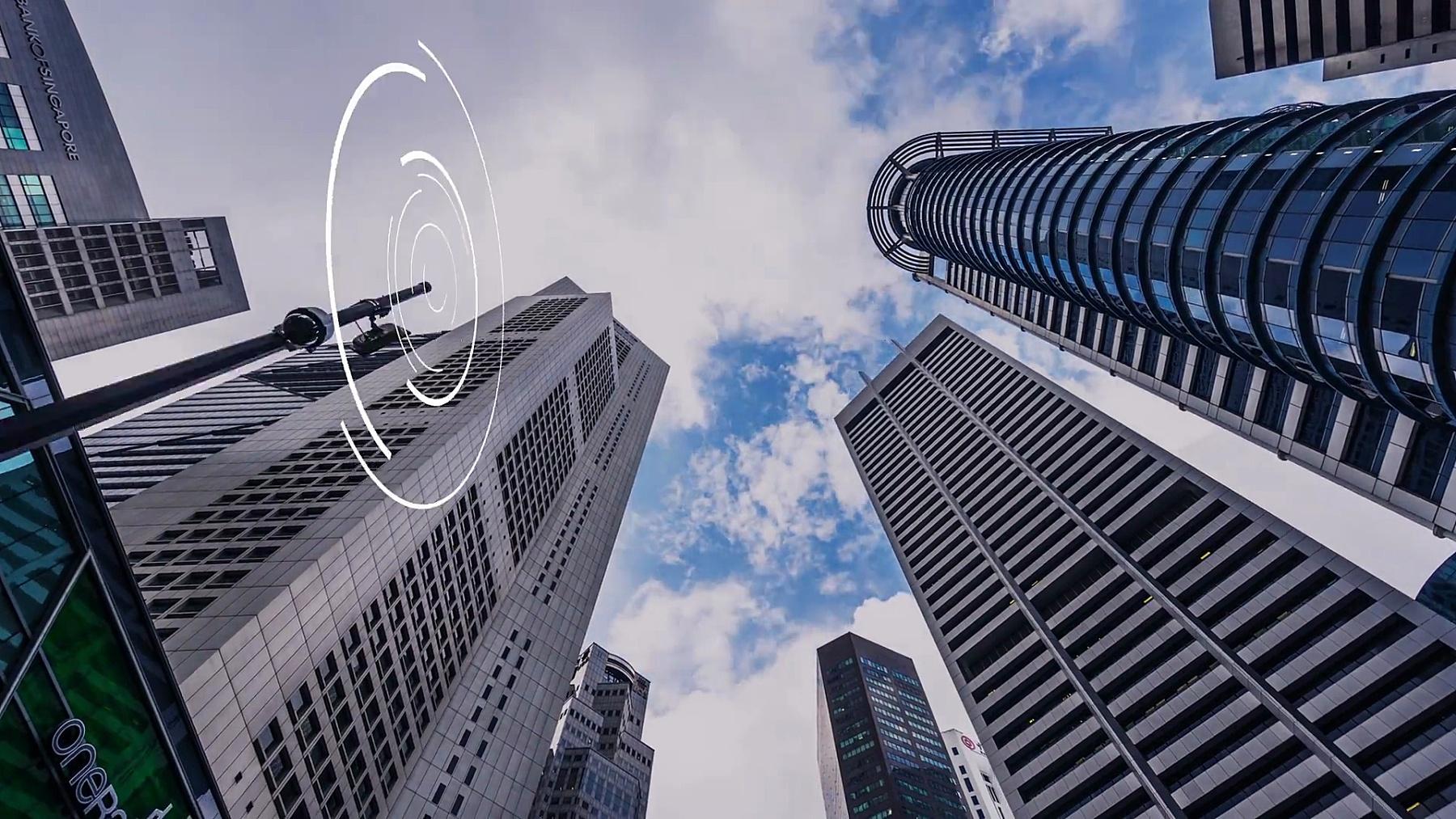 现代城市CBD中的现代智能建筑。延时超延时