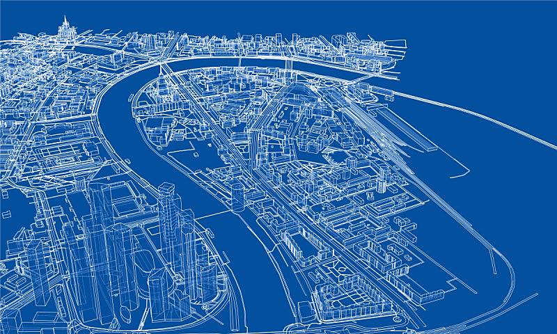 城市,概念,轮廓,金属丝,时尚,建筑结构,航拍视角,路,草图,设计