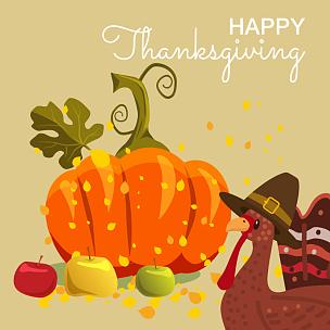 幸福,秋天,叶子,矢量,火鸡,绘画插图,卡通,庆祝,设计