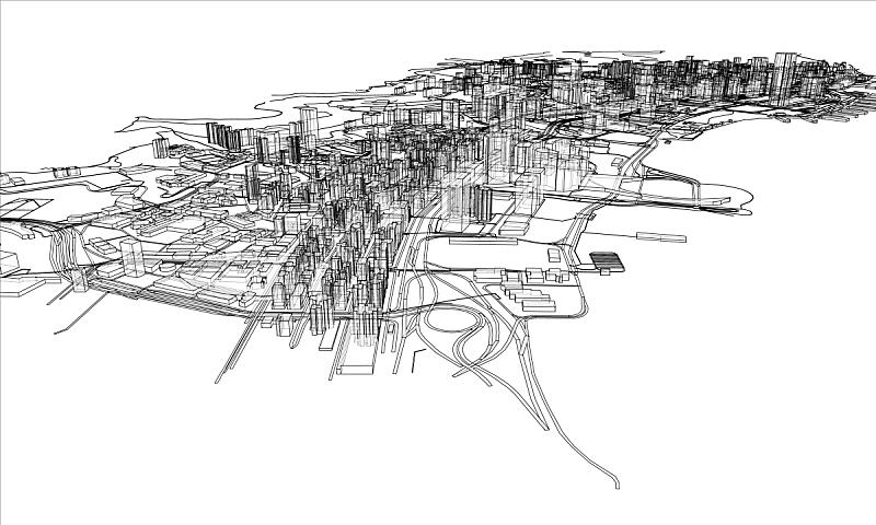 城市,轮廓,概念,金属丝,建筑结构,时尚,草图,三维图形,航拍视角,剪影