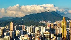 中国深圳城市风光与梧桐山延时摄影