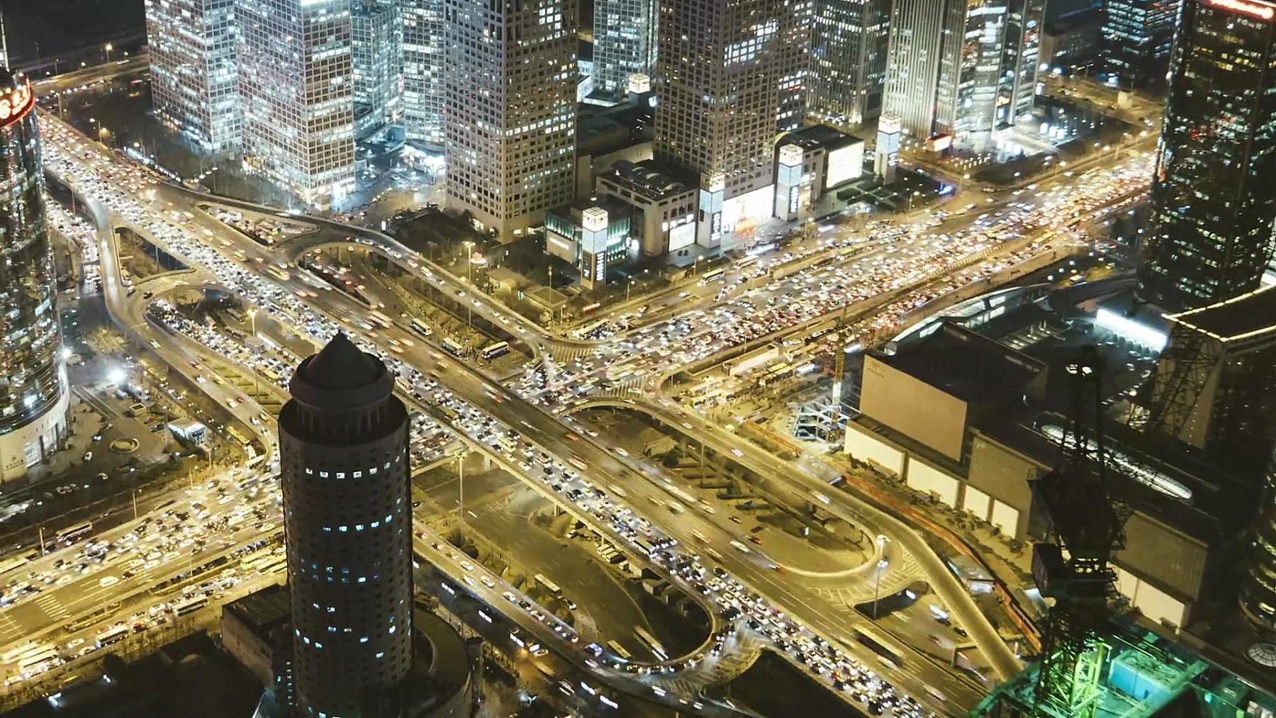 T/L MS HA PAN北京中央商务区和高峰时间交通/北京,中国