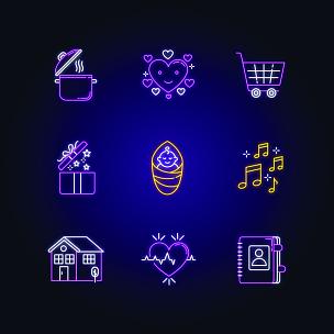 传媒,配方,书,霓虹灯,生活方式,计算机图标,矢量,标志,心型,烹调