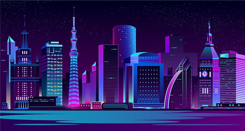 城市,夜晚,现代,地形,未来,矢量,水,商务,暗色,照亮