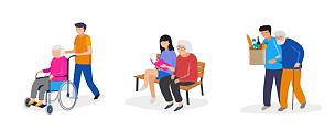 绘画插图,轮椅,书,人,志愿者,矢量,青年人,家庭生活,老年人,支撑