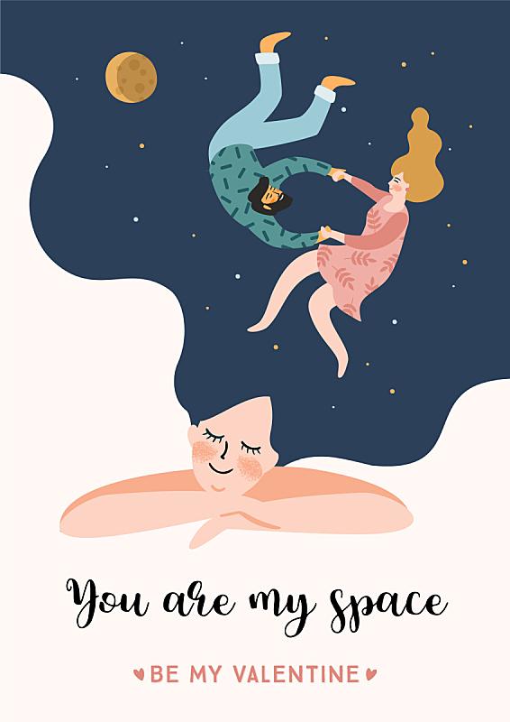 浪漫,人,可爱的,模板,女人,设计,沟通,问候,爱,相伴