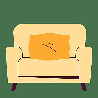 高质量插画-扁平肌理复古-沙发