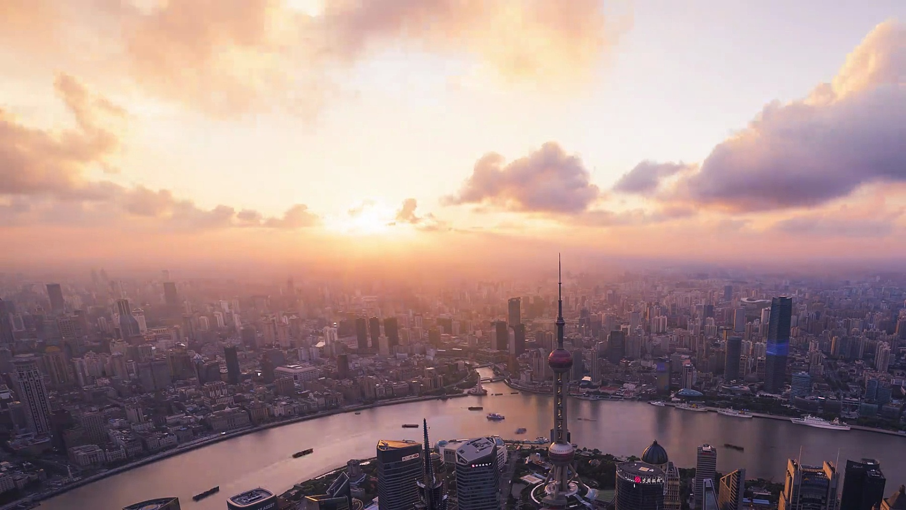 上海天际线从早到晚
