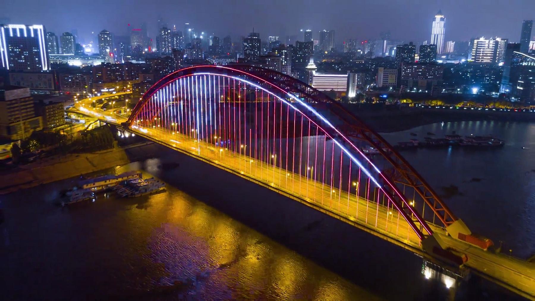 中国夜景照亮武汉城市风光青川桥空中全景 延时摄影