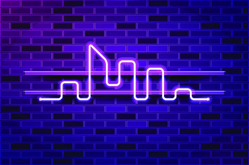 巨大的,矢量,绘画插图,霓虹灯,紫色,城市天际线,荧光灯,发光二级管,商业广告标志,空的