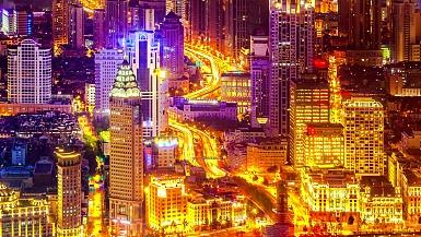 晚上鸟瞰上海。延时循环。