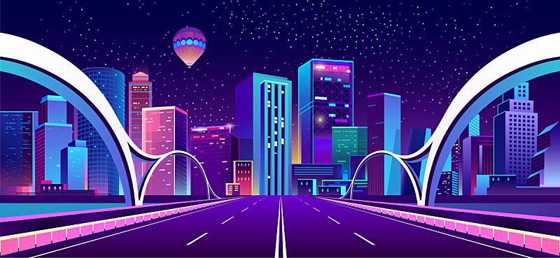 城市,夜晚,霓虹灯,背景聚焦,商务,暗色,公路,现代,河流,剪影