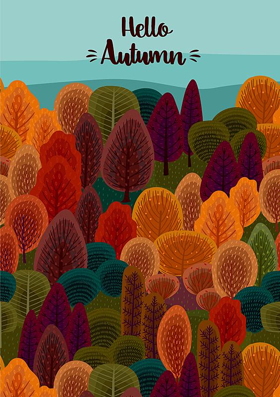 模板,秋天,式样,森林,春天,户外,创造力,华丽的,传单