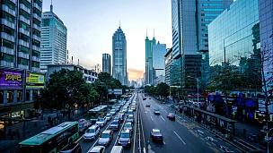 深圳的现代建筑外观,延时摄影。