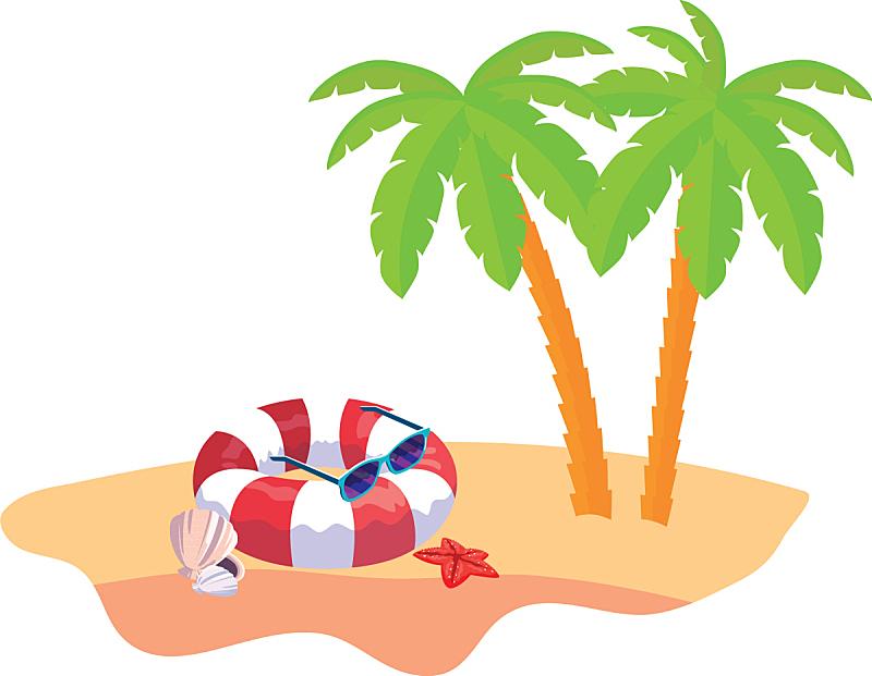 夏天,景象,海滩,棕榈树,充气筏,天气,海星,动物,树,休闲