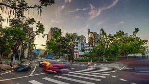 日落时间珠海市交通十字路口街景全景 延时摄影中国