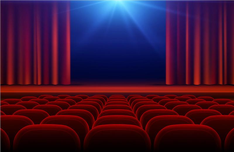 舞台,红色,窗帘,门厅,剧院,图像,无人,会堂,事件,首次公演