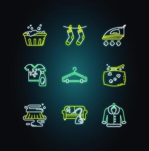 洗衣服,标志,绘画插图,计算机图标,霓虹灯,家具,熨斗,毛皮,枕头,矢量