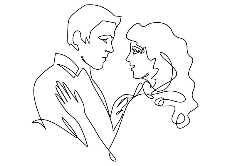 continuous one drawn single line romantic