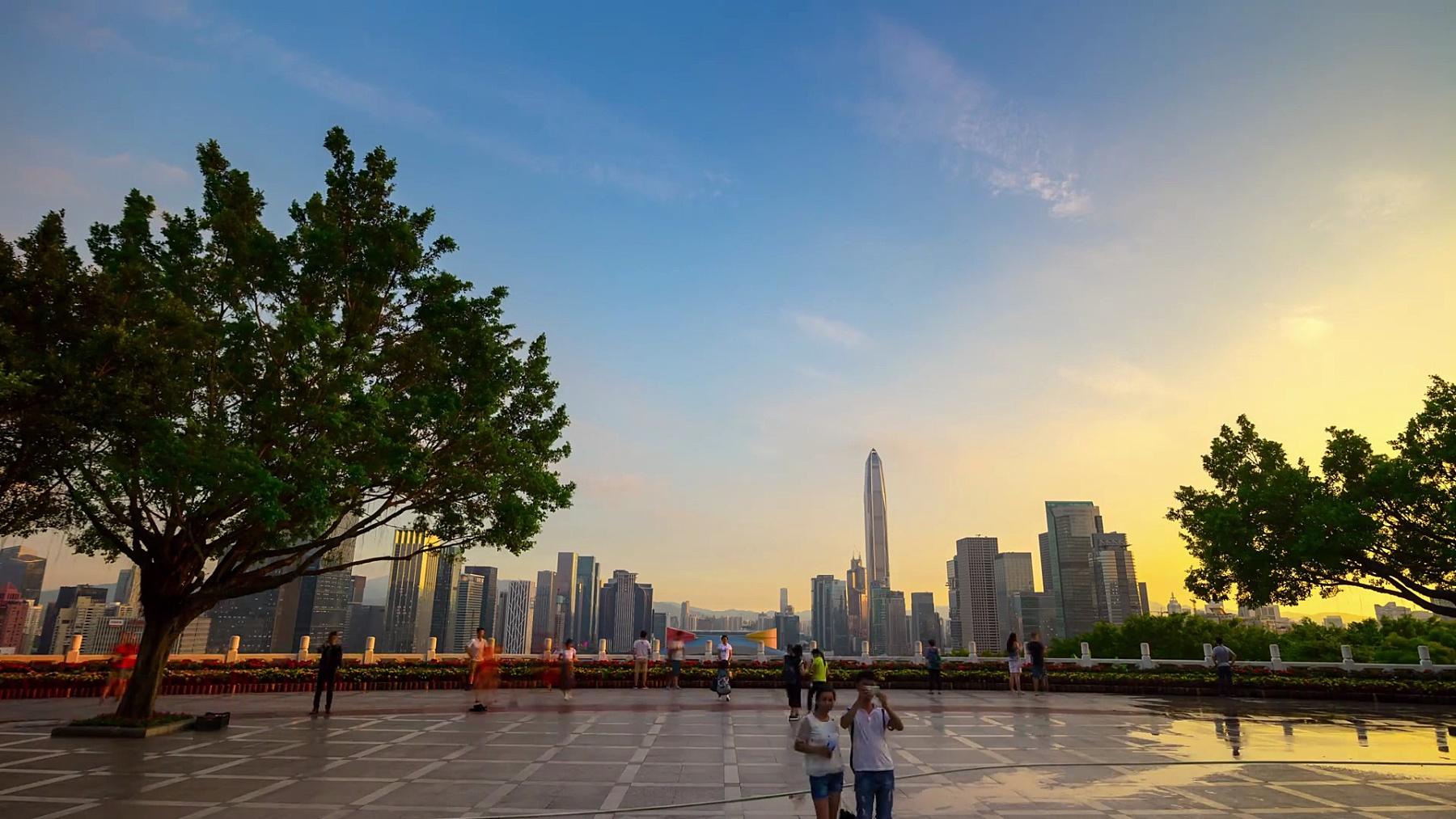 深圳莲花山公园观点城市全景  timelapse中国
