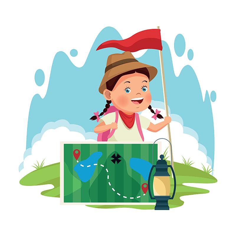 女孩,灯笼,动画片,森林,草,探险,休闲,复古