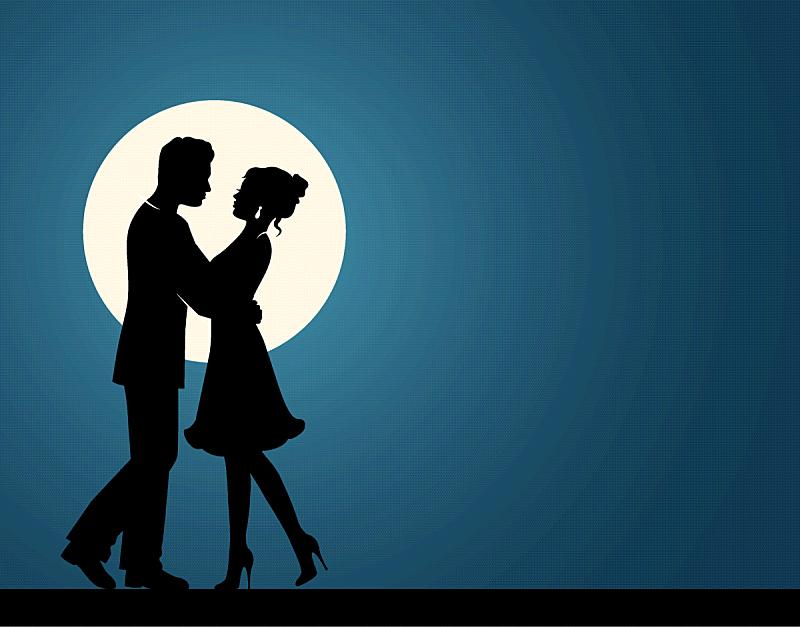 伴侣,一见钟情,蜜月,热情,浪漫,婚礼,女人,爱,约会,剪影