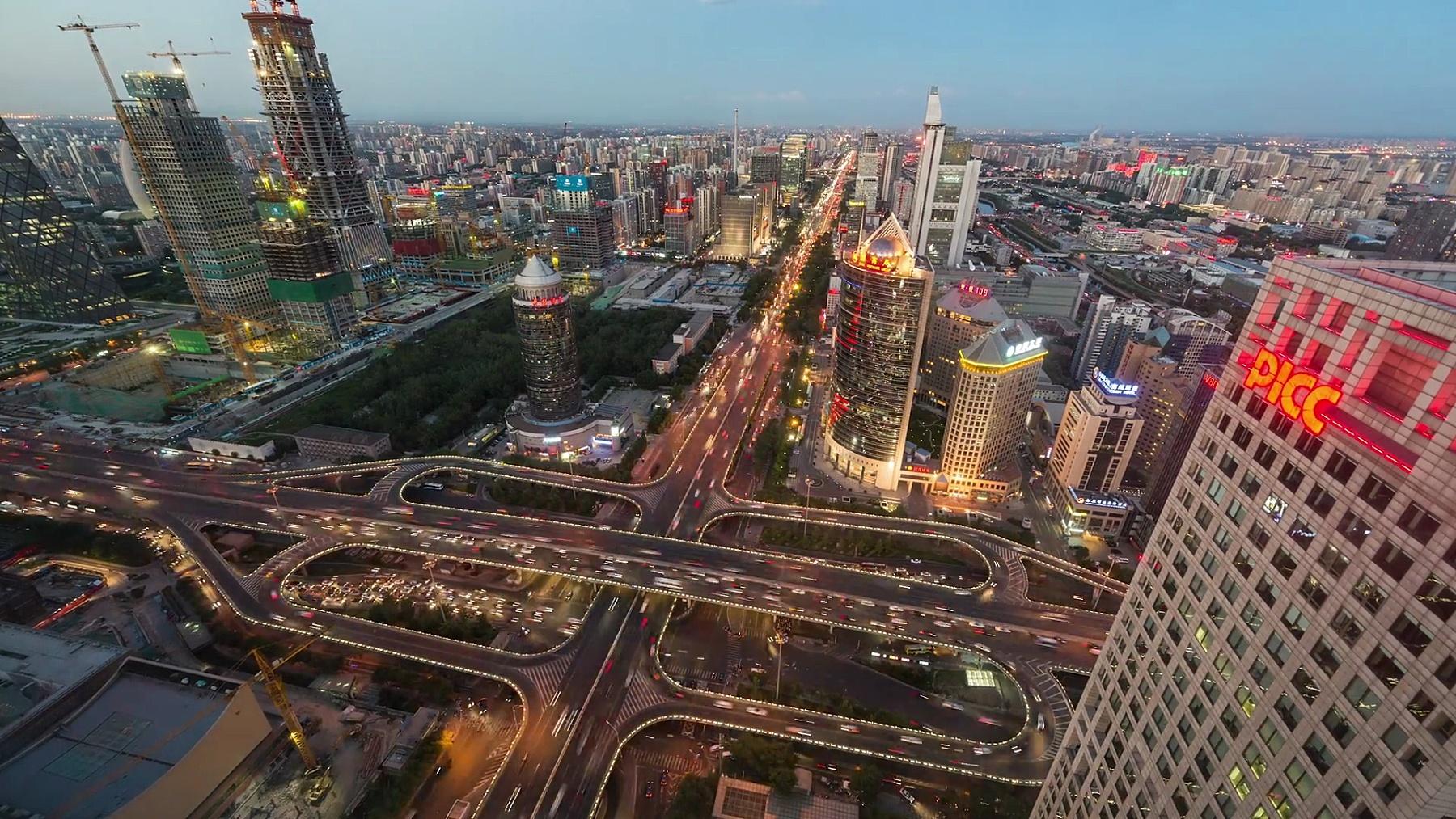 延时摄影-北京,繁忙道路交叉口鸟瞰(WS HA放大)
