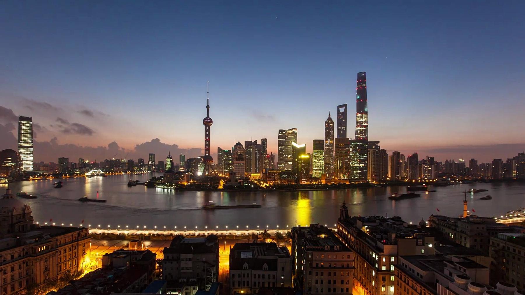 上海城市景观  Timelapse,日出