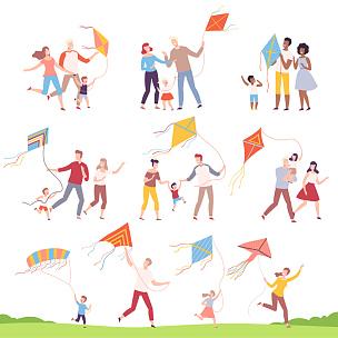 户外,儿童,母亲,风筝,绘画插图,家庭,父亲,进行中,矢量,幸福