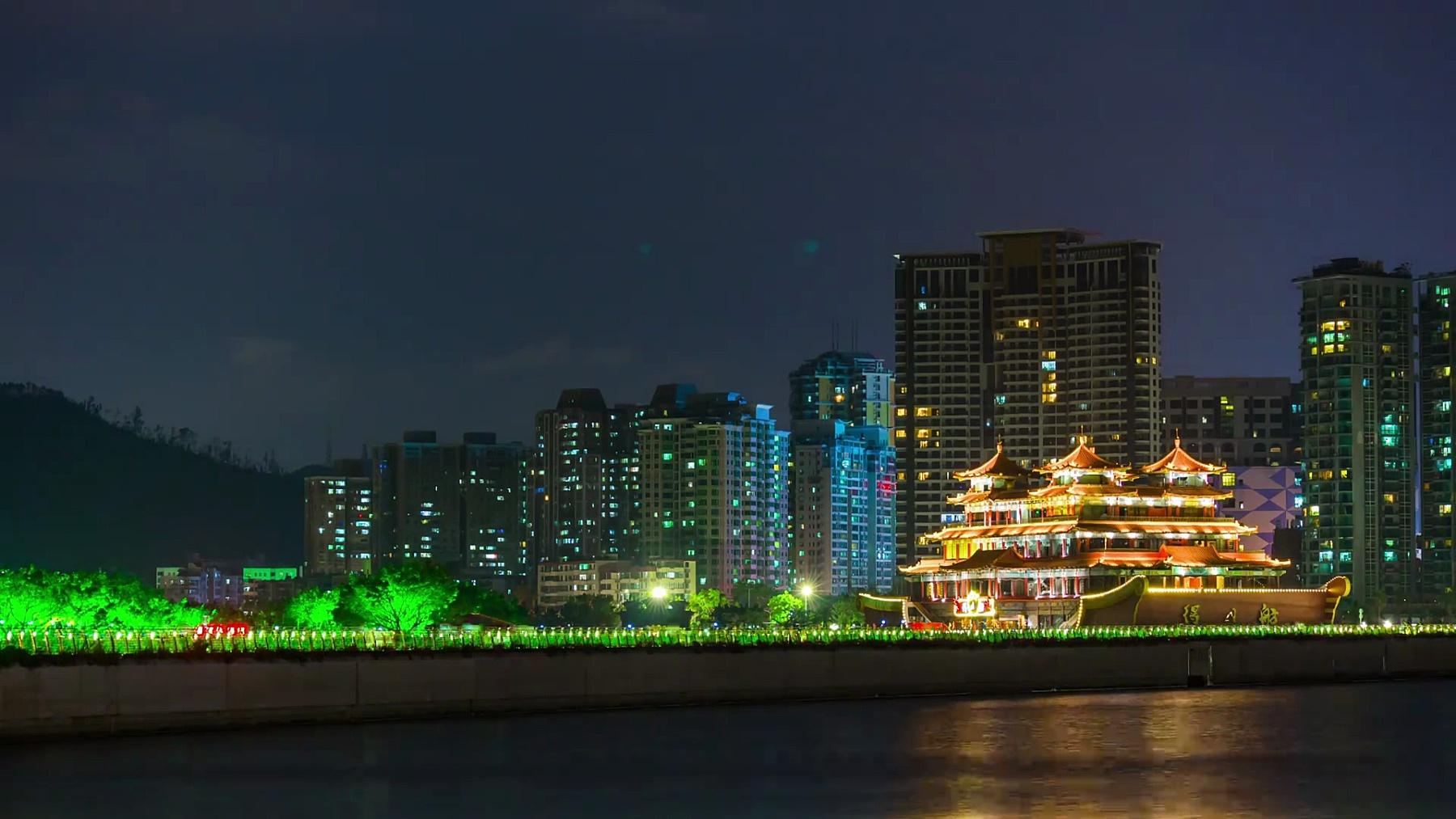 夜间照明珠海市著名海湾餐厅全景 延时中国