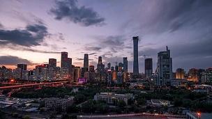 -北京中央商务区建筑天际线CBD在风暴中