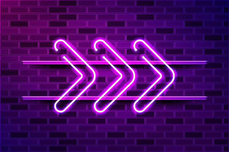 绘画插图,箭头符号,霓虹灯,紫色,矢量,荧光灯,发光二级管,商业广告标志,专门技术,空的