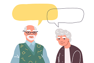 泡泡,老年人,注视镜头,对话气泡框,老年男人,健康保健,背景分离,家庭,肖像,女人