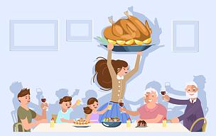 晚餐,家庭,女儿,多代家庭,人,古老的,父母,孙辈,相伴