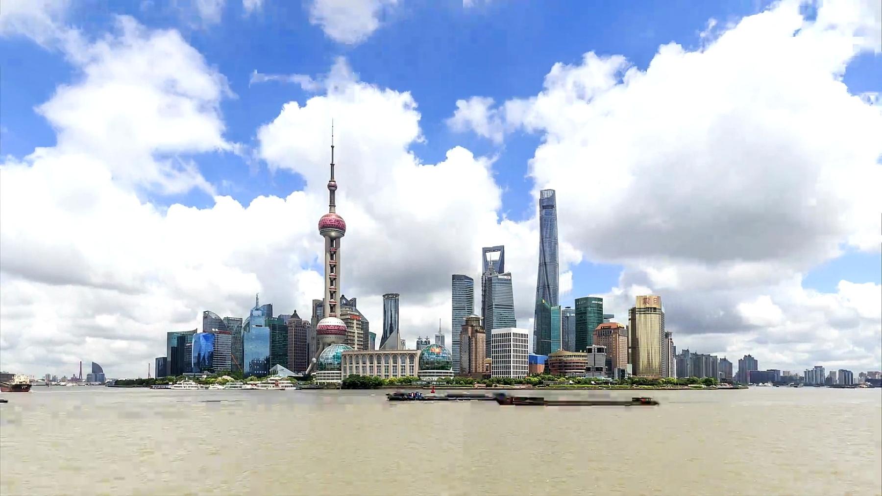 上海天际线与城市景观的延时摄影