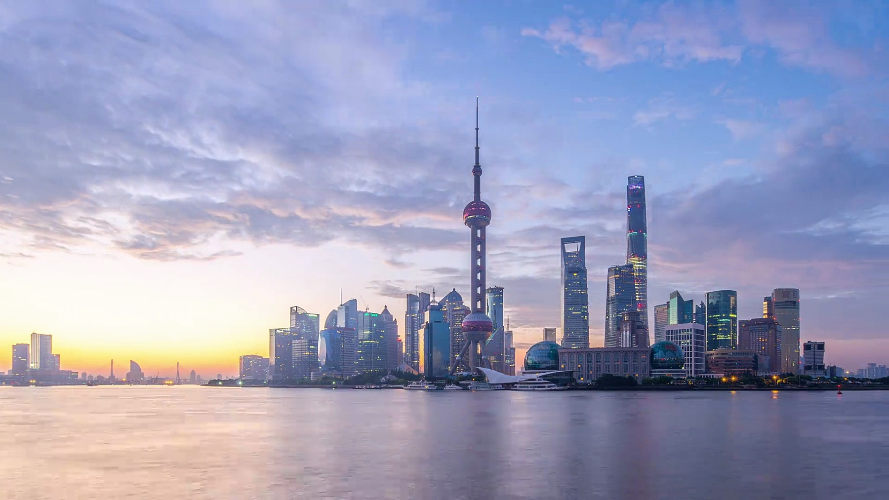 现代城市景观与上海日出,timelapse,