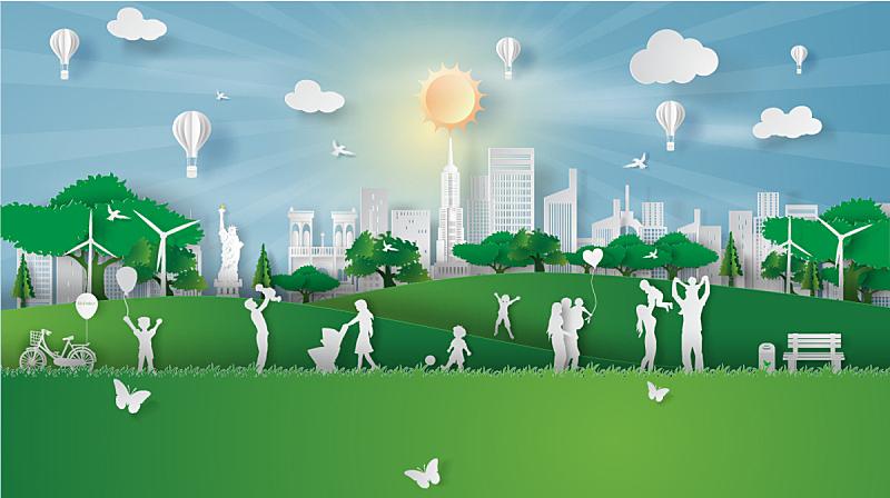 环境,纸,日光,时尚,地形,新的,公园,城市,矢量