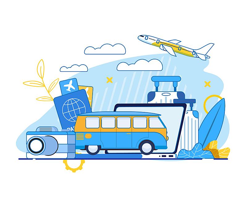 夏天,巴士,飞机,度假,旅行,旅游,服务,设计
