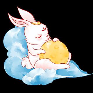 中秋节水彩风中国风插画-兔子
