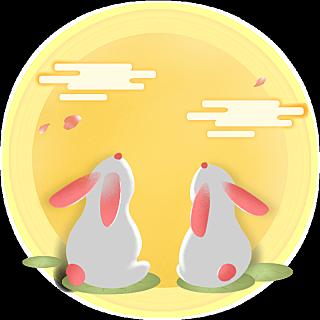 中秋节热点贴纸-兔子