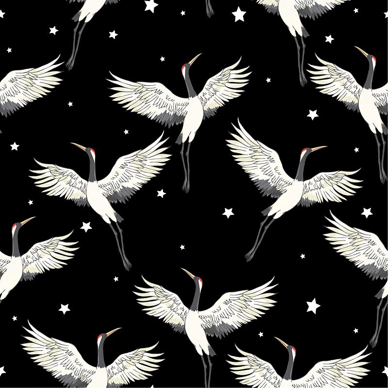 式样,鹤,华丽的,传统,和服,壁纸,天鹅,翅膀,装饰物,复古
