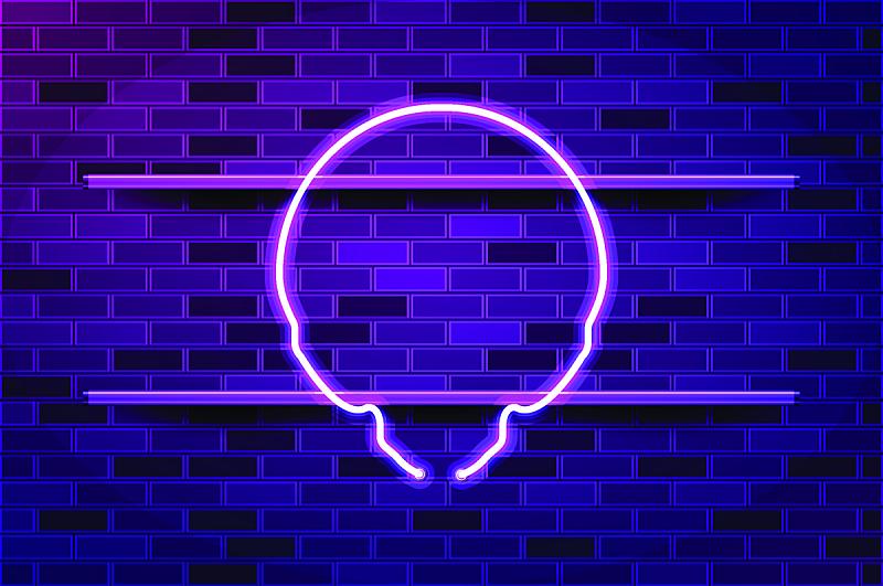 紫色,头骨,矢量,外星人,绘画插图,霓虹灯,发光二级管,荧光灯,商业广告标志,空的