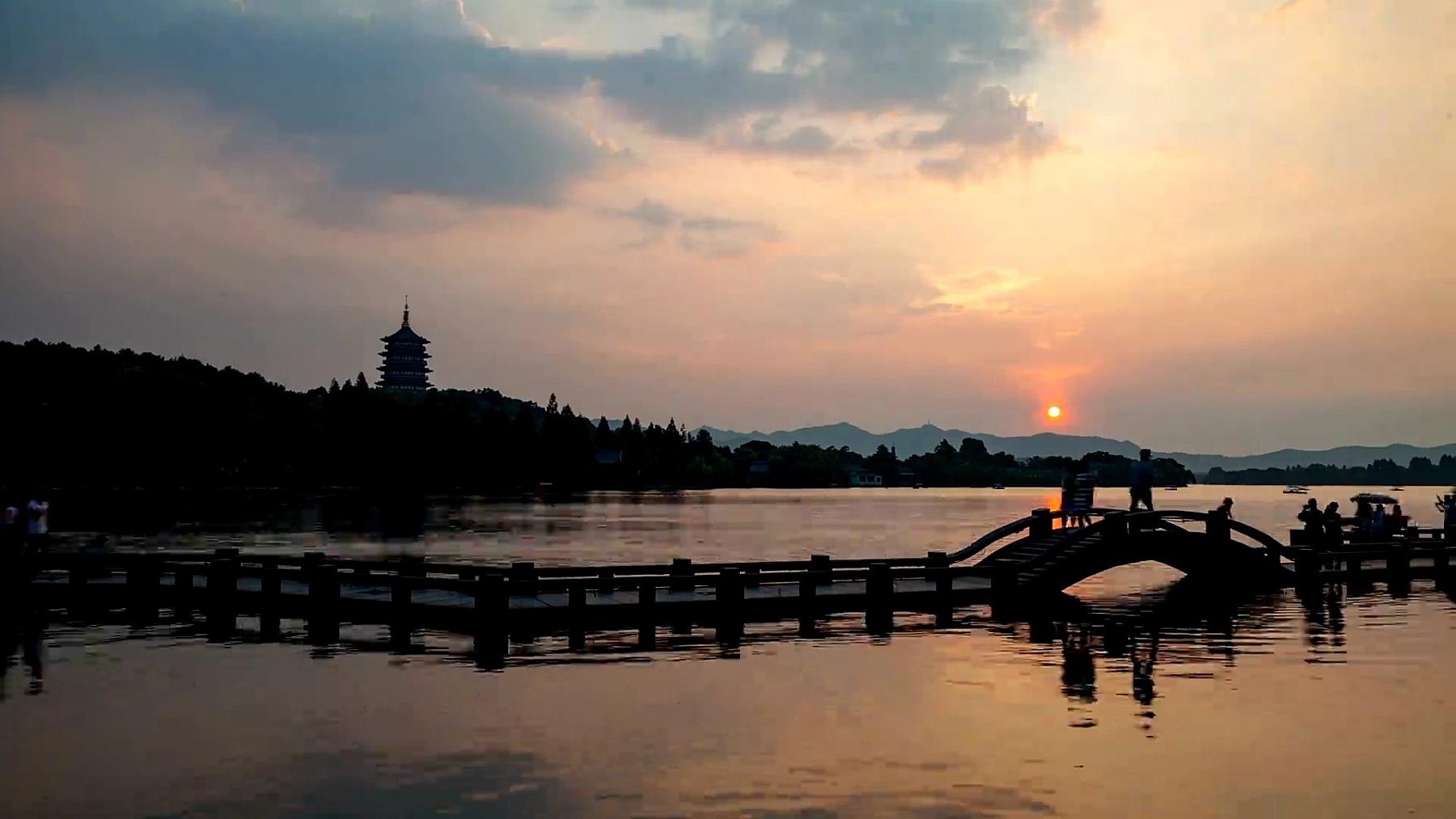 杭州西湖日落