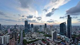 中国上海城市景观,日夜过渡
