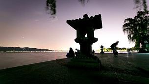 杭州西湖景观,延时摄影